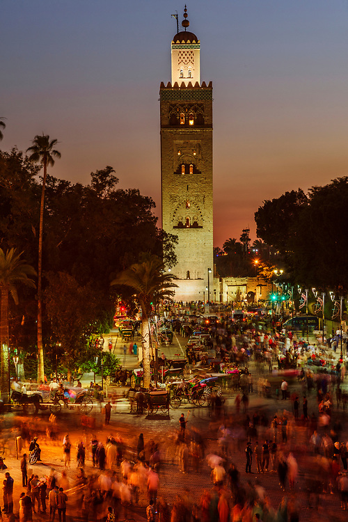 North Africa; Africa; African; Morocco; Moroccan; Marrakesh, The Koutoubia Mosque or Kutubiyya Mosque is the largest mosque in Marrakesh