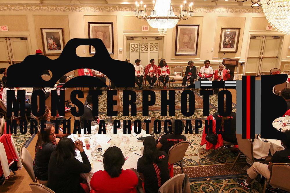 Members of the original Mu Pi Chapter line answer questions Saturday, Nov. 07, 2015 at Christiana Hilton in Newark.