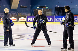 Nik Zupancic, head coach of Slovenia and Gaber Glavic during practice session of Team Slovenia at the 2017 IIHF Men's World Championship, on May 11, 2017 in AccorHotels Arena in Paris, France. Photo by Vid Ponikvar / Sportida