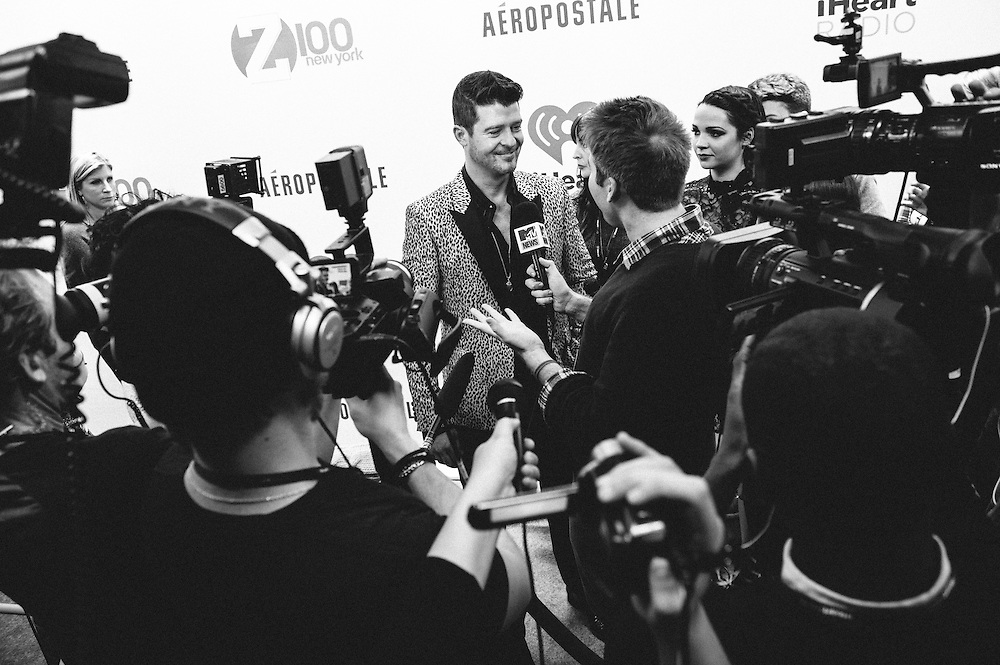 Photo of Robin Thicke taken backstage at Z100's Jingle Ball 2013 concert at Madison Square Garden on December 14, 2013 in New York City. Copyright © 2013. Matthew Eisman. All Rights Reserved