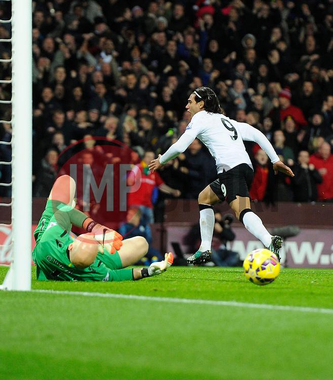 Manchester United's Radamel Falcao Garcia celebrates  - Photo mandatory by-line: Joe Meredith/JMP - Mobile: 07966 386802 - 20/12/2014 - SPORT - football - Birmingham - Villa Park - Aston Villa v Manchester United - Barclays Premier League