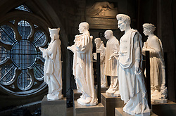 © Licensed to London News Pictures. 29/05/2018. London, UK.  Models of twentieth century Christian martyrs, including Martin Luther King (3R), are displayed in the Queen's Diamond Jubilee Galleries at Westminster Abbey. The recently finished galleries situated in 13th century triforium, 52 feet above the abbey floor, will display treasures not seen by the public before and tell the story of abbey's thousand-year history. Photo credit: Peter Macdiarmid/LNP