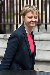 © London News Pictures. 09/05/2016. London, UK.  Labour MP YVETTE COOPER outside the Houses of Parliament in London to greet new MPs Chris Elmore and Gill Furniss following elections last week. Photo credit: Ben Cawthra/LNP