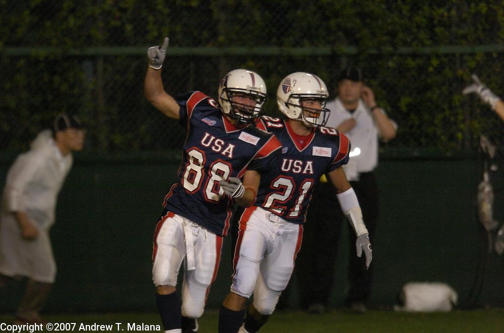 Team USA vs Team Korea:..Bob Awrey returns the opening kickoff for a touchdown against Team Korea at Kawasaki Stadium.
