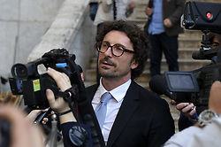 Italy, Rome - April 24, 2018.The leader of Five Star Moviment (M5S) Danilo Toninelli talks to the media after a meeting with Lower House Speaker Roberto Fico for a round of consultations (Credit Image: © Mistrulli/Fotogramma/Ropi via ZUMA Press)
