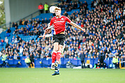 Barnsley midfielder Brad Potts (20) wins the header during the EFL Sky Bet Championship match between Sheffield Wednesday and Barnsley at Hillsborough, Sheffield, England on 28 October 2017. Photo by Simon Davies.