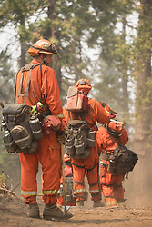July 26, 2018 - Idyllwild, California, U.S. - Cal Fire Gulf Crew. A wildfire has burned through more than 38,000 acres near Yosemite National Park in California, and it hasn't stopped for two weeks. The Ferguson Fire has continued since the fire started west of Yosemite on July 13, aided by high temperatures and dry air. The wildfire has injured seven firefighters and killed one. (Credit Image: © Cal Fire via ZUMA Wire/ZUMAPRESS.com)