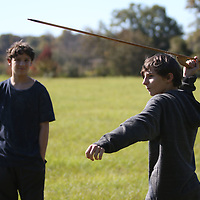 Lukas Reedy, 14, prepares to throw a spear during the atlatl competiton Saturday at the Ingomar Mound event