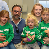 Pablo Gonzalez, Seville and Maeve Cummins, Kinsale pictured with their children Alana, Olivia and Jimena at the Kinsale Regatta Emigrants' Welcome Home gathering at Temperance Hall.<br /> Picture. John Allen