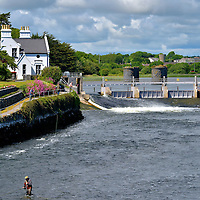 Fly Fishing Below the Salmon Weir in Galway, Ireland<br />