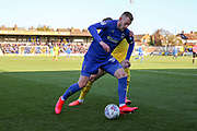 AFC Wimbledon striker Joe Pigott (39) dribbling during the EFL Sky Bet League 1 match between AFC Wimbledon and Fleetwood Town at the Cherry Red Records Stadium, Kingston, England on 8 February 2020.