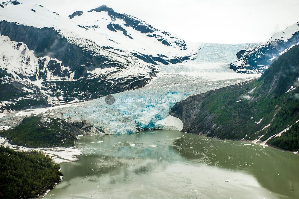Aerial view of West Twin Glacier and Twin Glacier Lake, Juneau, Alaska.
