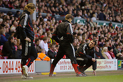 LIVERPOOL, ENGLAND - Saturday, January 26, 2008: Liverpool's super-star substitutes Fernando Torres, Jamie Carragher and captain Steven Gerrard MBE watch from the sidelines during the FA Cup 4th Round match against Havant and Waterlooville at Anfield. (Photo by David Rawcliffe/Propaganda)