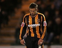 Photo: Lee Earle.<br /> Plymouth Argyle v Hull City. Coca Cola Championship. 09/12/2006. Hull's Nick Barby looks dejected after Plymouth win.