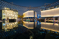 Night at the new modern City Walk shopping district in Dubai, United Arab Emirates.