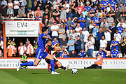 AFC Bournemouth Midfielder, Ryan Fraser (24) beats Leicester City Defender, Harry Maguire (15) to the ball to score his second goal 2-0 during the Premier League match between Bournemouth and Leicester City at the Vitality Stadium, Bournemouth, England on 15 September 2018.