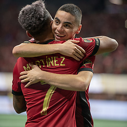 December 8, 2018 - Atlanta, Georgia, United States - Atlanta United forward JOSEF MARTINEZ (7) celebrates his goal with Atlanta United midfielder MIGUEL ALMIRON (10) during the MLS Cup at Mercedes-Benz Stadium in Atlanta, Georgia.  Atlanta United defeats Portland Timbers 2-0 (Credit Image: © Mark Smith/ZUMA Wire)