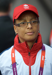 COVENTRY, ENGLAND - Friday, August 3, 2012: Great Britain head coach Hope Powell pictured before the Women's Football Quarter-Final match between Great Britain and Canada, on Day 7 of the London 2012 Olympic Games at the Rioch Arena. Canada won 2-0. (Photo by David Rawcliffe/Propaganda)