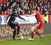 Dundee's Gary Harkins and Aberdeen&rsquo;s Mark Reynolds -  Aberdeen v Dundee, SPFL Premiership at Pittodrie<br />