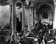 World War I  1914-1918: American Army field hospital inside ruins of a church, France, 1918. Warfare Casualties Medicine