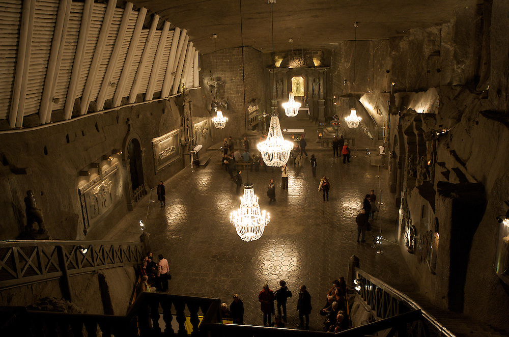Wieliczka Salt Mine, Poland. The Saint Kinga's Chapel is the most impressive and opulent of underground temples. The chamber, carved in a block of salt, has been a place of worship since 1896. The chapel ornamentation has been created over a period of more than a hundred years.