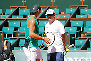 Rafael Nadal (ESP) and Toni Nadal (ESP) trainer at practice on on Philippe Chatrier tennis stadium during the Roland Garros French Tennis Open 2017, preview, on May 25, 2017, at the Roland Garros Stadium in Paris, France - Photo Stephane Allaman / ProSportsImages / DPPI
