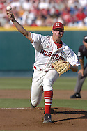 Nebraska starting pitcher Johnny Dorn pitched four innings against the Florida Gators and took the loss.  Florida defeated Nebraska in the second round of the College World Series 7-4 at Rosenblatt Stadium in Omaha, Nebraska on June 19, 2005.