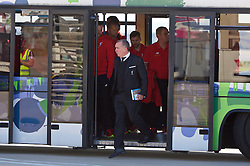 LIVERPOOL, ENGLAND - Monday, May 16, 2016: Liverpool's Chief Executive Officer Ian Ayre and the squad board their plane to Basel as they fly out of Liverpool John Lennon Airport to Switzerland ahead of the UEFA Europa League Final against Sevilla FC. (Pic by David Rawcliffe/Propaganda)