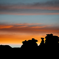Silhouette of giant hoodoos Navajo Nation, AZ