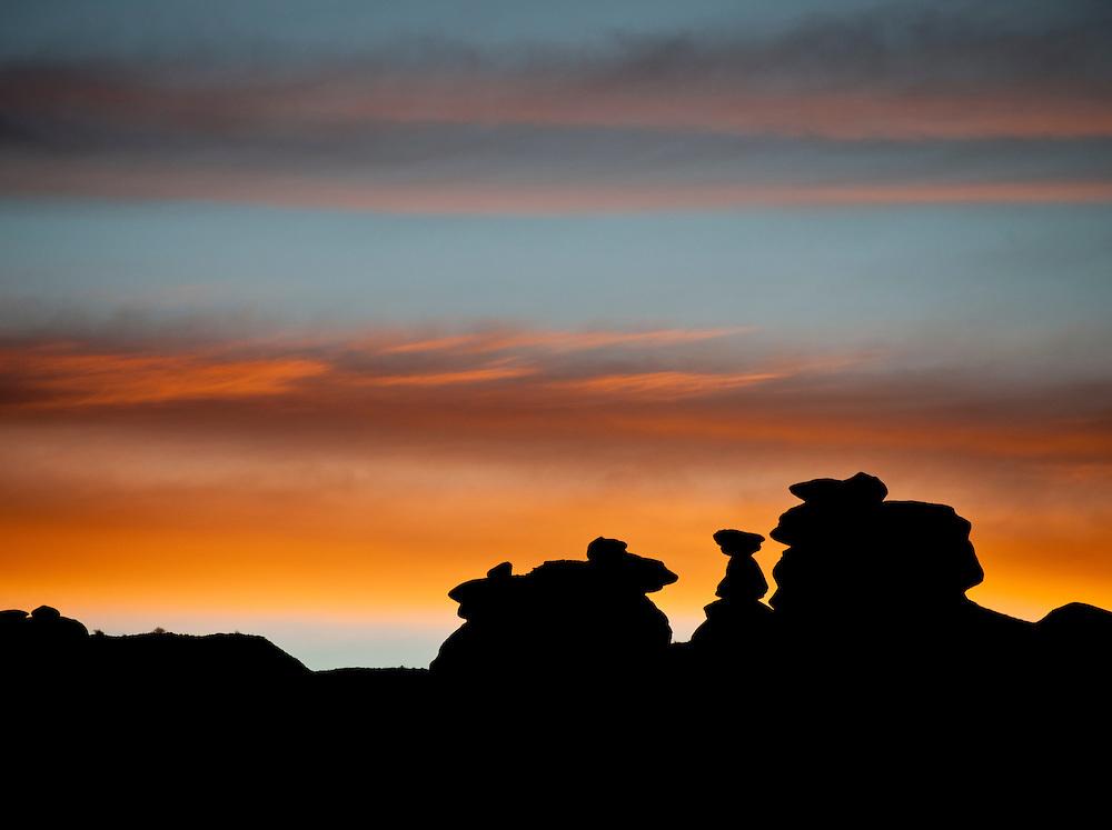 Silhouette of giant hoodoos Navajo Nation, AZ