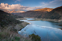 Winter Storm Clouds at Sunset over Morris Reservoir, Angeles National Forest, California