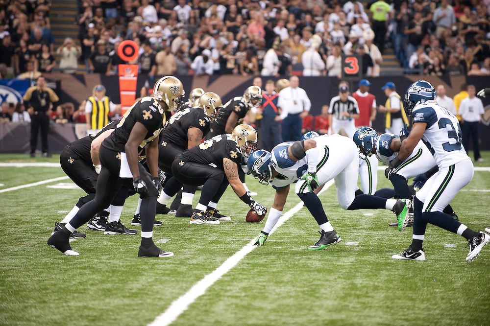 21 November 2010:  New Orleans Saints near the 20 yard line during the first half of the game. New Orleans Saints leads Seattle Seahawks 27 -13 at first half.