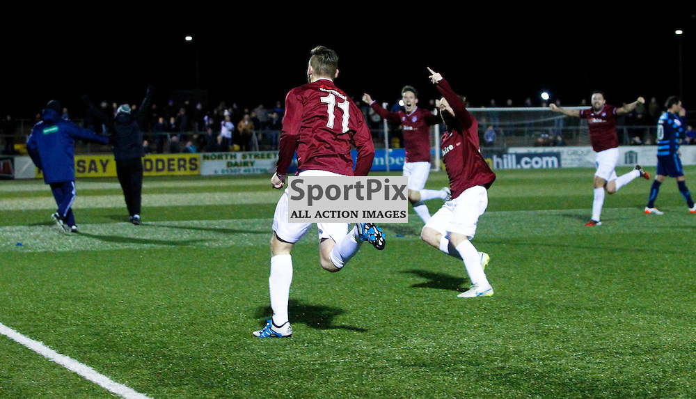 Jubilation for Linlithgow as Kevin Kelbie (11) scores the winning goal 5 minutes from time During the William Hill Scottish Cup replay at Station Park Forfar<br /> (c) Andrew West | SportPix.org.uk