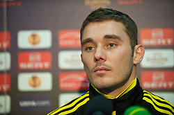 BUCHAREST, ROMANIA - Wednesday, December 1, 2010: Liverpool's Fabio Aurelio during a press conference at the Stadionul Steaua ahead of the UEFA Europa League Group K match against FC Steaua Bucuresti. (Pic by: David Rawcliffe/Propaganda)