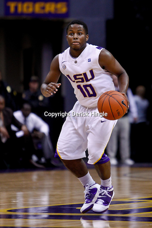 November 30, 2010; Baton Rouge, LA, USA; LSU Tigers guard Andre Springer (10) during a game against the Houston Cougars at the Pete Maravich Assembly Center. LSU defeated Houston 73-57. Mandatory Credit: Derick E. Hingle