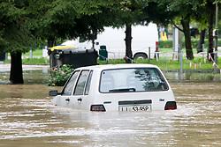 Car stuck in a water after heavy rain on September 19, 2010, in Ljubljana, Slovenia. (Photo by Matic Klansek Velej / Sportida)