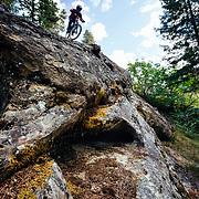 Rex Flake drops a major rock feature near Leavenworth, Washington.