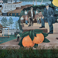 Broward County History Mural in Fort Lauderdale, Florida<br /> This is a detail of an 85 x 30 foot mural on the side of the Broward County Governmental Center Parking Garage that illustrates iconic images of Broward County&rsquo;s history.  They include the Wanderer paddleboat, The Stranahan and Company Trading Post plus citrus fruit.  In the center is Governor Napoleon Bonaparte Broward, the county&rsquo;s namesake.  Dan Daddona created this outdoor art in 1988.
