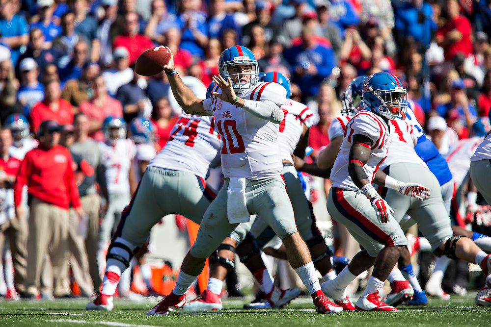 MEMPHIS, TN - OCTOBER 17:  Chad Kelly #10 of the Ole Miss Rebels throws a pass against the Memphis Tigers at Liberty Bowl Memorial Stadium on October 17, 2015 in Memphis, Tennessee.  The Tigers defeated the Rebels 37-24.  (Photo by Wesley Hitt/Getty Images) *** Local Caption *** Chad Kelly