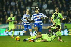 Mark Hudson of Huddersfield Town sliding tackle on Daniel Williams of Reading - Mandatory byline: Jason Brown/JMP - 07966 386802 - 03/11/2015- FOOTBALL - Madejski Stadium - Reading, England - Reading v Huddersfield Town - Sky Bet Championship