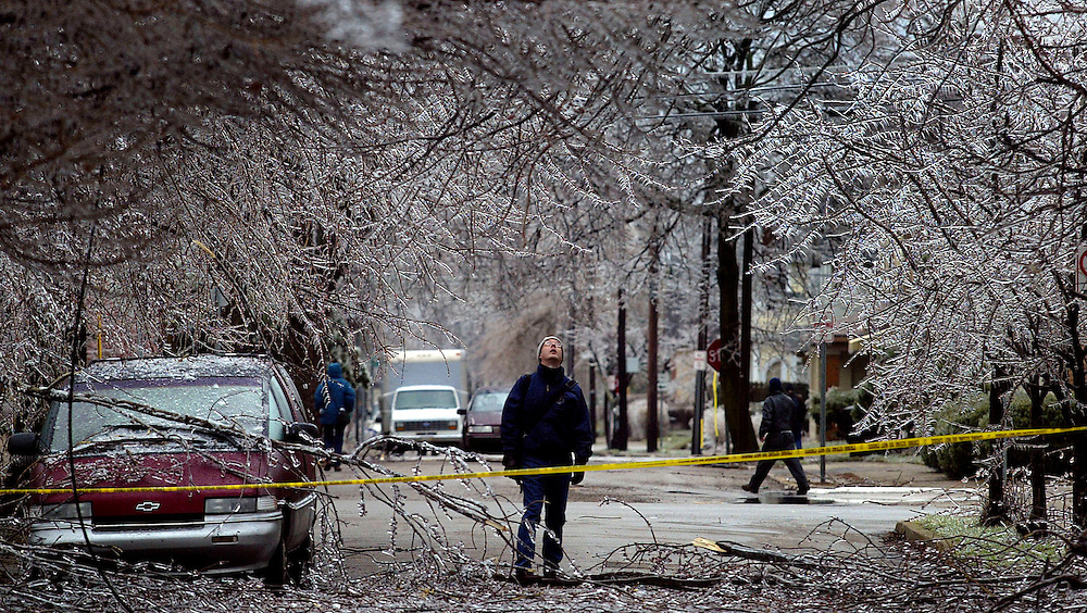 A pedestrian looks at cracking trees and a downed powerlines after a ice storm swept through Muncie knocking power out to thousands of people for several days. Thursday morning. (AP Photo/The Star Press, Chris Bergin)