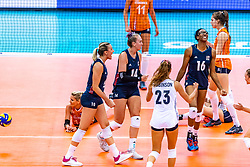 15-10-2018 JPN: World Championship Volleyball Women day 16, Nagoya<br /> Netherlands - USA 3-2 / Jordan Larson #10 of USA, Michelle Bartsch-Hackley #14 of USA, Foluke Akinradewo #16 of USA