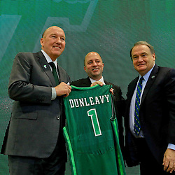 Mar 29, 2016; New Orleans, LA, USA; Tulane Green Wave head coach Mike Dunleavy Sr (left) poses for a photo with Tulane University President Michael Fitts, right, and athletic director Troy Dannen following a press conference at the Delvin Fieldhouse. Mandatory Credit: Derick E. Hingle-USA TODAY Sports