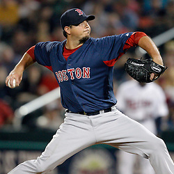 February 27, 2011; Fort Myers, FL, USA; Boston Red Sox starting pitcher Josh Beckett (19) during a spring training exhibition game against the Minnesota Twins at Hammond Stadium.  Mandatory Credit: Derick E. Hingle