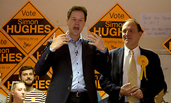 © Licensed to London News Pictures. 14/04/2015. <br /> LONDON, UK. Deputy Prime Minister, Nick Clegg and candidate for Bermondsey and Southwark Simon Hughes discuss the need for more affordable housing in London. Photo credit : Hannah McKay/LNP