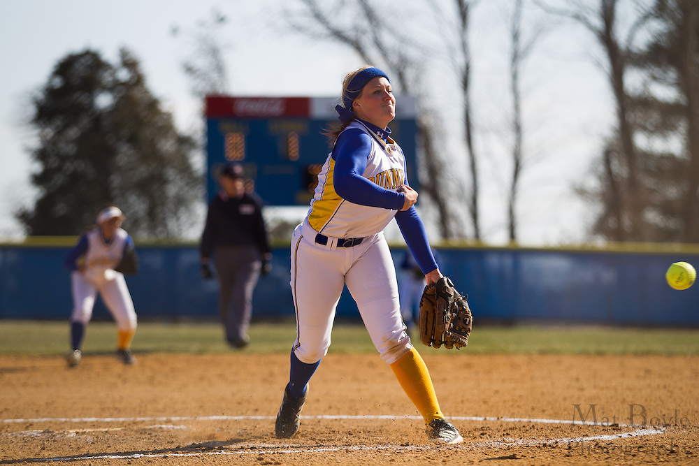Gloucester County College softball pitcher Erin Huesser (6) - Orange County Community College Softball at Gloucester County College at Gloucester County College softball fields in Sewell, NJ on Tuesday April 2, 2013. (photo / Mat Boyle)