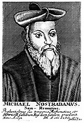 Nostradamus (Michel de Notradame 1503-1556). French physician and astrologer.  18th century portrait engraving .