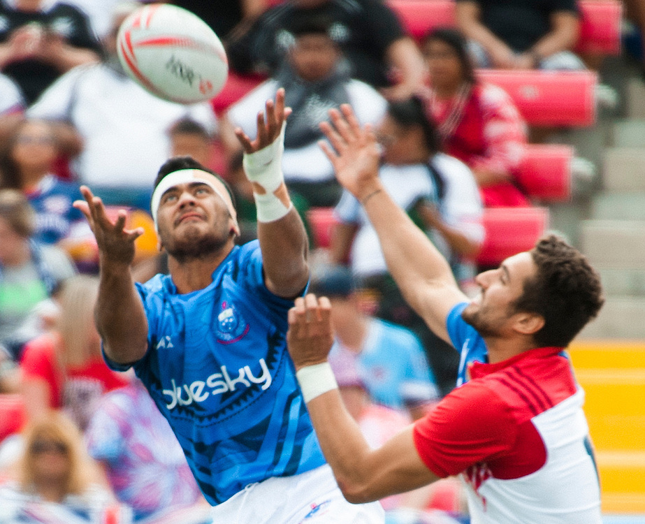 Samoa play Fance  during the pool stage of the 2016 USA Sevens leg of the HSBC Sevens World Series at Sam Boyd Stadium  Las Vegas, Nevada. Saturday March 5, 2016.<br /> <br /> Jack Megaw for USA Sevens.<br /> <br /> www.jackmegaw.com<br /> <br /> 610.764.3094<br /> jack@jackmegaw.com