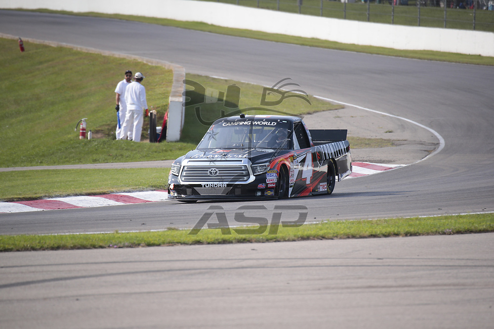 The NASCAR Camping World Truck Series teams take to the track for a practice session for the Chevrolet Silverado 250 at Canadian Tire Motorsports Park in Bowmanville, Ontario.