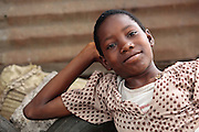 Portrait of a girl in the Point Four neighborhood of Monrovia, Montserrado county, Liberia on Thursday April 5, 2012.